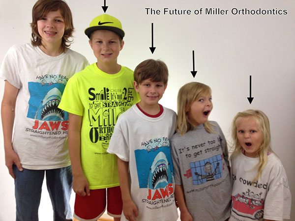 Early Orthodontic Treatment Kids, Miller Orthodontics family practice, kids making funny faces for a picture